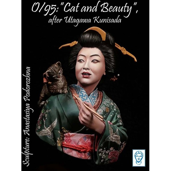 Cat and Beauty, after Utagawa Kunisada